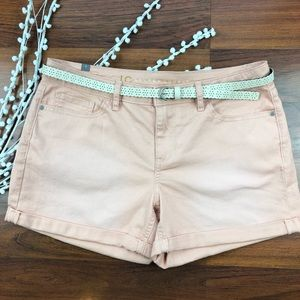 Lauren Conrad peach denim shorts with belt Size 8